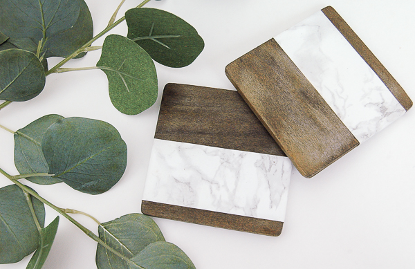 Wood and faux marble coasters