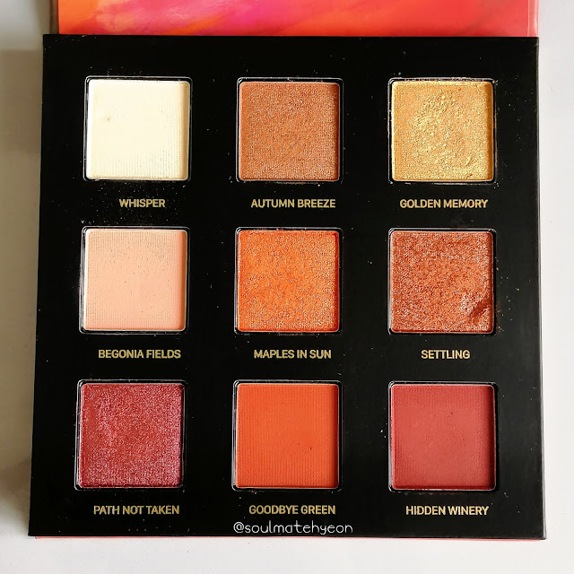 perfect diary 完美日记; 9-colour Star Dust Eyeshadow Palette 光影星河九色眼影盘 02秋叶
