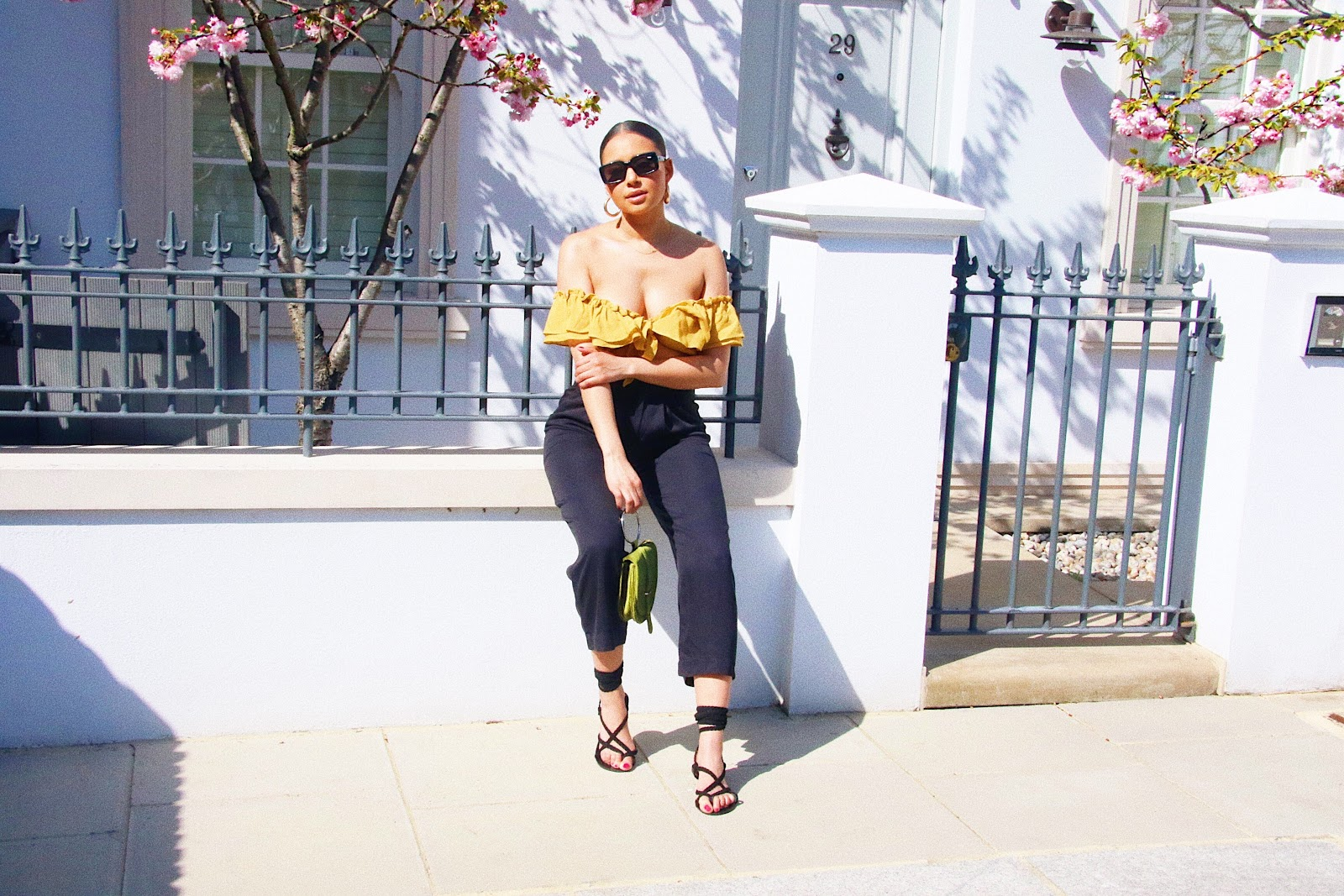wrap sandals, yellow top, crop top, yellow crop top, culottes,