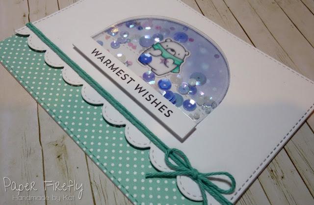 Christmas snow globe shaker card using MFT Bitty Bears and snow globe die