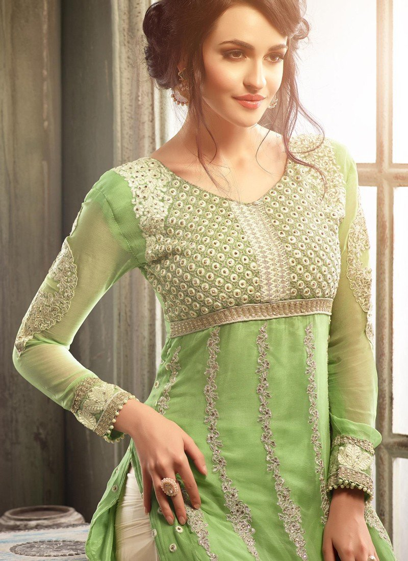 c9c485c4aa Light Green Shalwar Kameez Palazzo Suit Pakistani style - Singaar ...