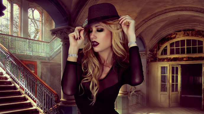 Wallpaper: Glamour. Style Hat. Model Portrait