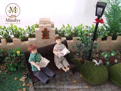 """""""minilys miniatures"""" """"garden"""" """"leyendo cuentos"""" 1:12 banco"""