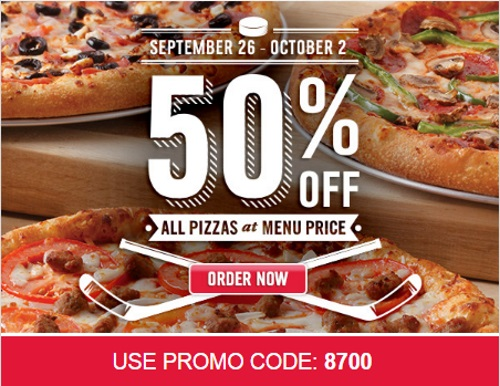 Dominos 50% Off Pizza Promo Code