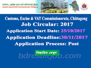Customs, Excise & VAT Commissionerate, Chittagong Job Circular 2017