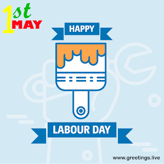 1st May happy labour Day May day greetings wishes images.cartoon icon paint brush with paint