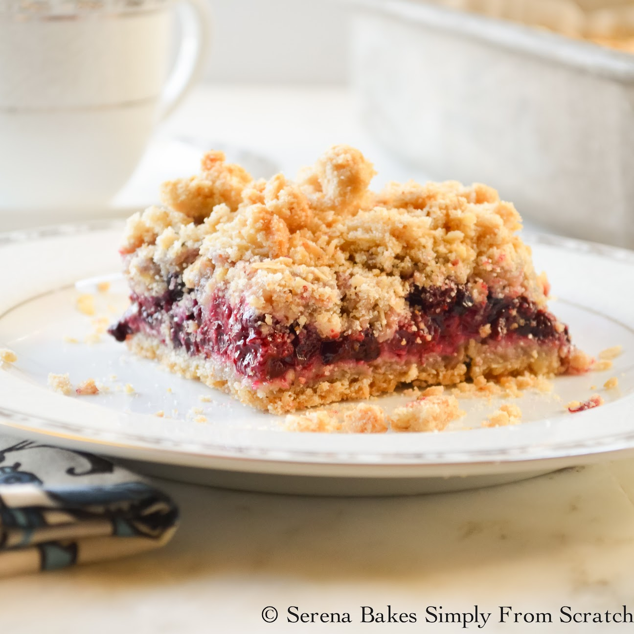 Blackberry Crumb Bars are an easy to make dessert.