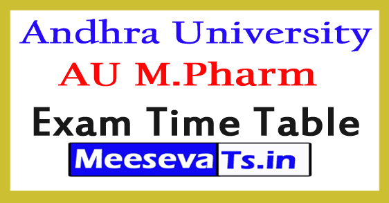 Andhra University M.Pharm 2nd Sem Exam Time Table