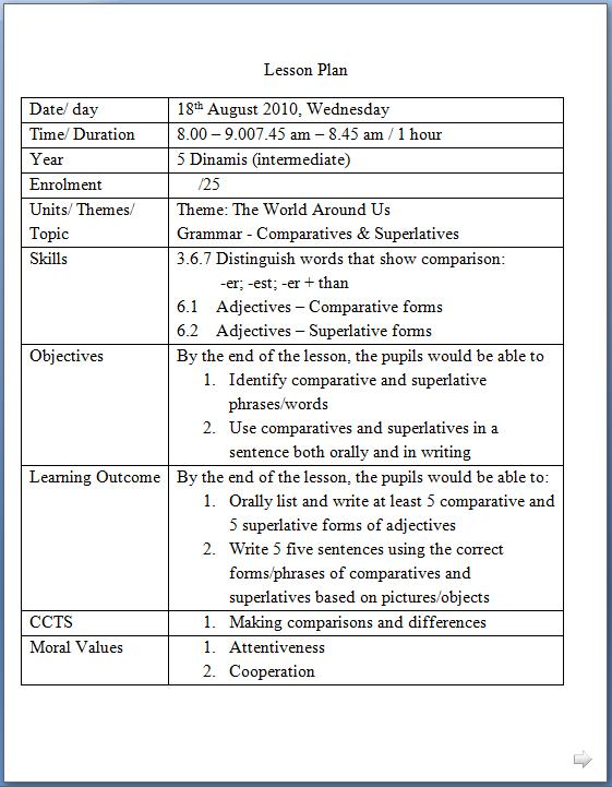 English language example lesson plans india 2013.