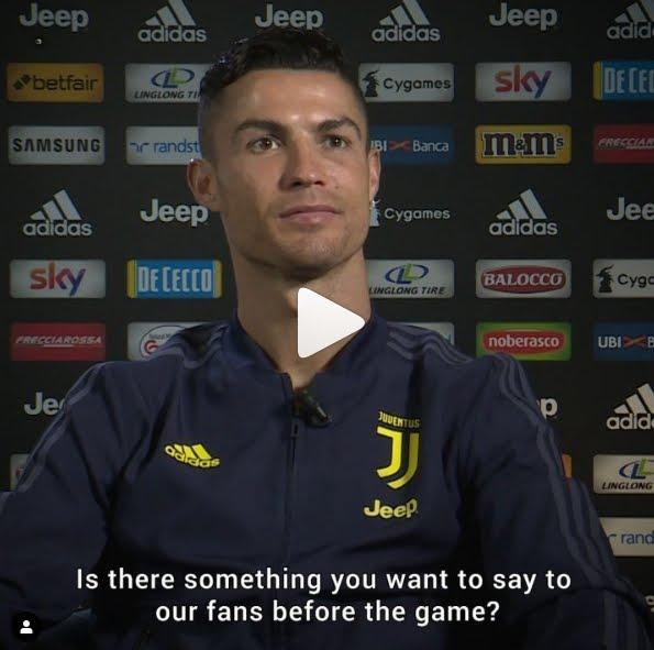 Juventus-Atletico Madrid, CR7 Cristiano Ronaldo incita i tifosi su Instagram.