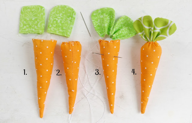 Sewing Tutorials: How to Make Fabric Carrots, a tutorial featured by top US sewing blog, Ameroonie Designs: Use fiber fill to stuff the bodies then close the top with a needle and thread, adding the leaves at the end.