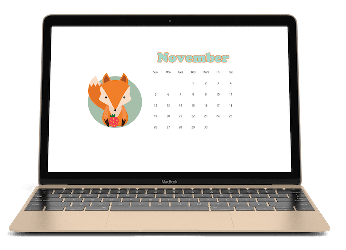 This November 2017 Calendar desktop wallpaper is sure to delight. It's lovely in teal and orange with a darling fox. 3 sizes including one for a phone.