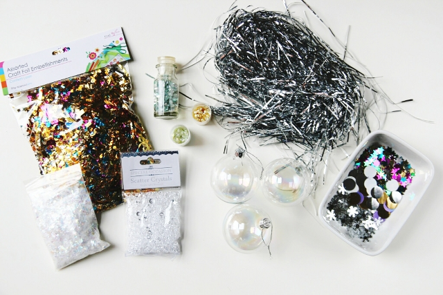 supplies for Diy Sparkle filled Christmas Baubles