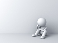 """""""Worried Man Sitting On White"""" by Master isolated images"""