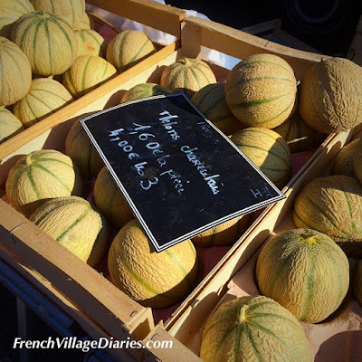 French Village Diaries market day Charentais melons