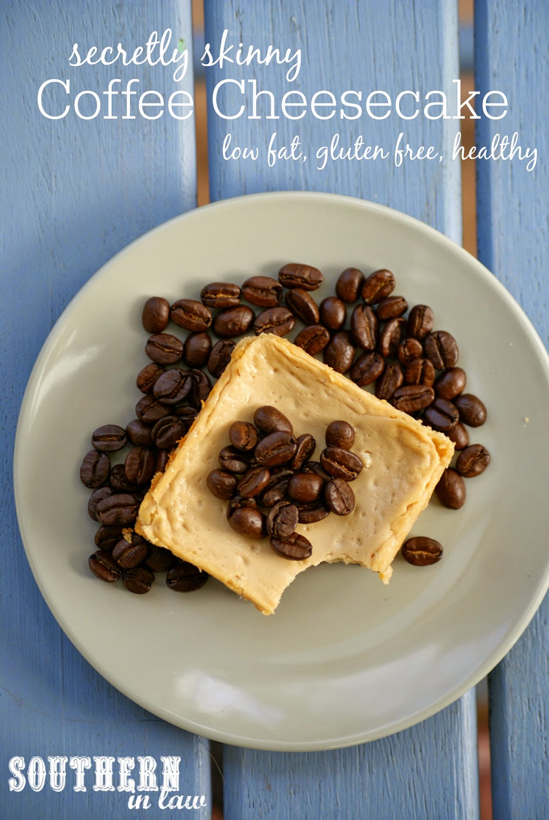 Low Fat Coffee Cheesecake Recipe with a Chocolate Cookie Crust - low fat, gluten free, low sugar, high protein