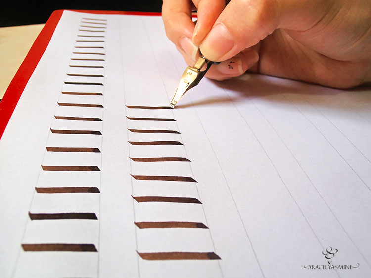 Trazos basicos para escribir con plumilla ancha caligrafia artistica