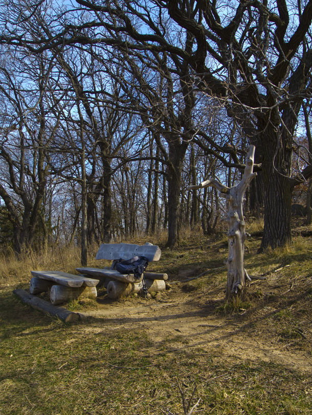bench and footrest along trail