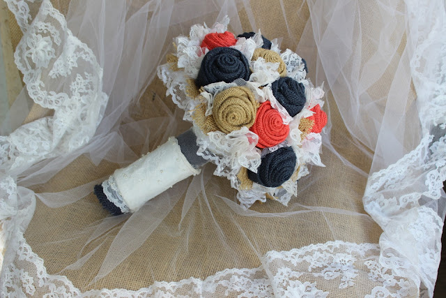 Fabric keepsake wedding bouquet in coral and navy