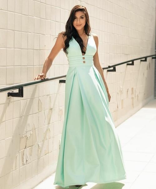 vestido de festa longo verde menta