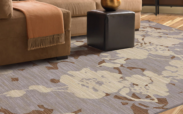 This modern area rug ties the room together.