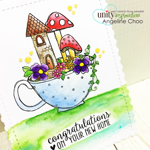 ScrappyScrappy: Little Garden in a Mug with Unity Stamp #unitystampco #scrappyscrappy #kom #kitofthemonth #congratulationscard #card #cardmaking #papercraft #scrapbook #craft #watercolor #katscrappiness #gansaitambi #nuvodrops