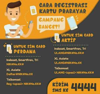 Registrasi kartu SIM prabayar perdana Telkomsel (Simpati, Kartu AS): REG16 digit NIK#16 digit nomor KK# Registrasi kartu SIM prabayar perdana XL Axiata (XL, Axis) : DAFTAR#16 digit NIK#16 digit nomor KK Registrasi kartu SIM prabayar perdana Indosat (IM3, Mentari), Tri, dan Smartfren:16 digit NIK#16 digit nomor KK#