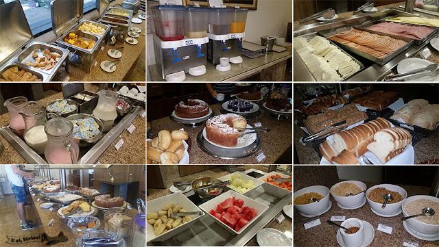Itens do café da manhã do Hotel Tarobá: pães, sucos, bolos, iogurte, frutas
