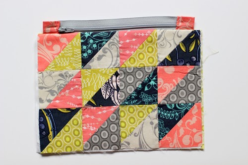 Half-Square Triangle Zipper Pouch and Key FOB Tutorial - In Color Order
