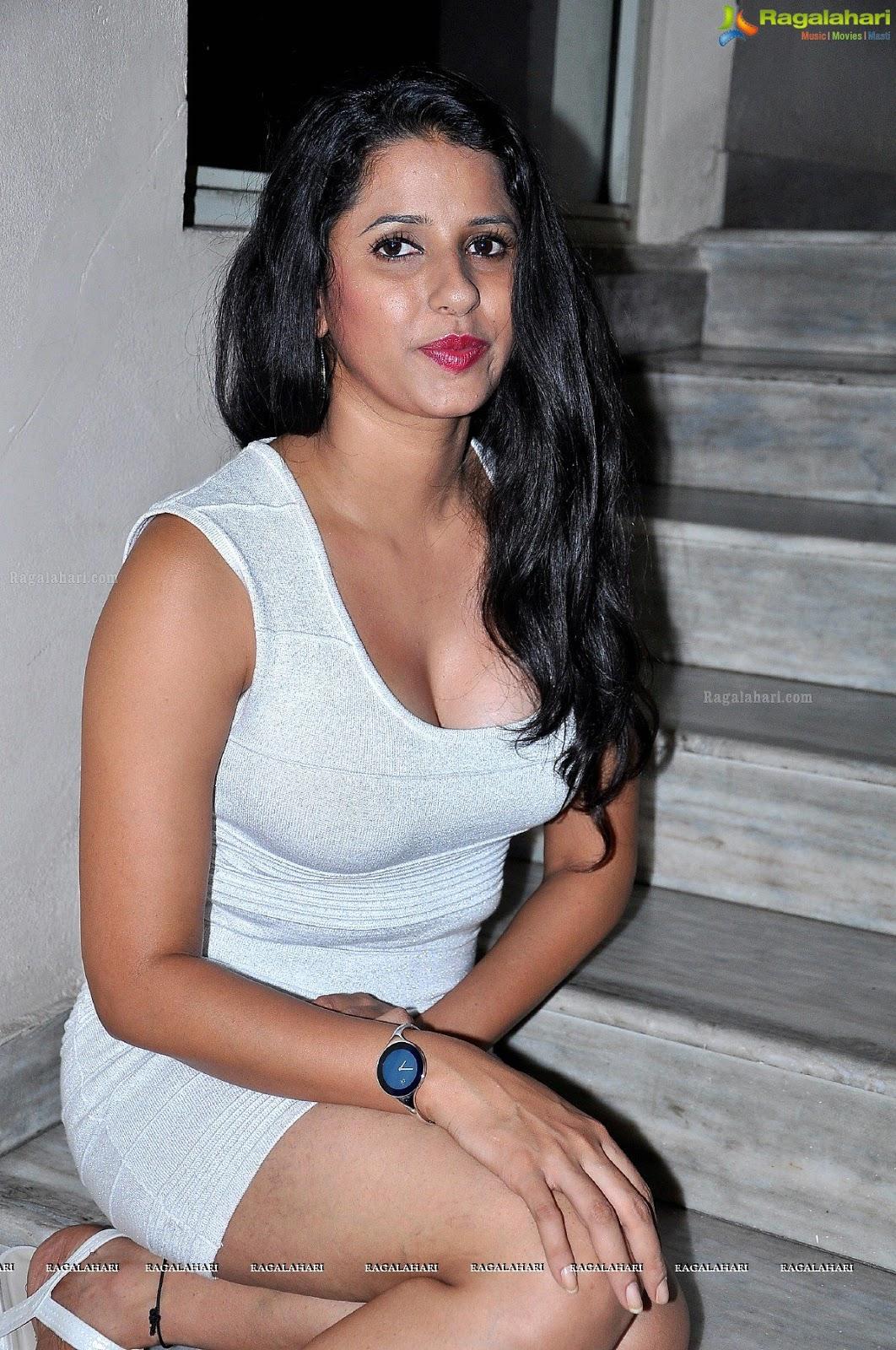 Telugu Model Shravya Reddy In White Dress - Actress Hot -9219