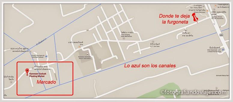 Mercado Domoensaduak plano de donde te deja la van de Bangkok