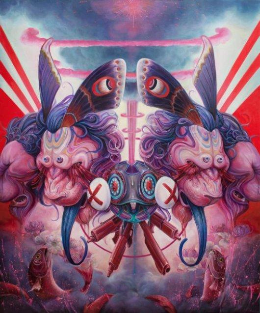 Hannah Faith Yata pinturas psicodélicas surreais sombrias  bizarras formas femininas peixes natureza cores