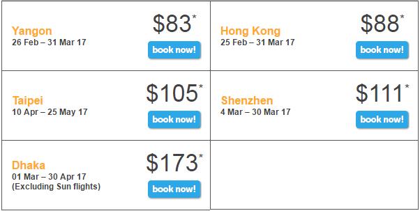 Bảng giá khuyến mãi Tiger Air bay đến Singapore ngày 23/2/2017