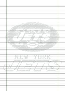 Folha Papel Pautado New York Jets rabiscado PDF para imprimir na folha A4