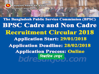 BPSC Cadre and Non Cadre Recruitment Circular 2018