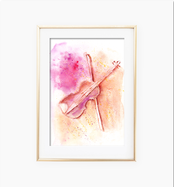 Watercolor Violin Wall Art