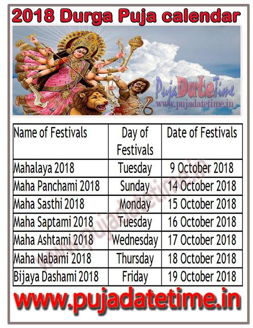 ২০১৮ দুর্গা পূজা ক্যালেন্ডার, শ্রী শ্রী দুর্গা পূজা সময় সুচি