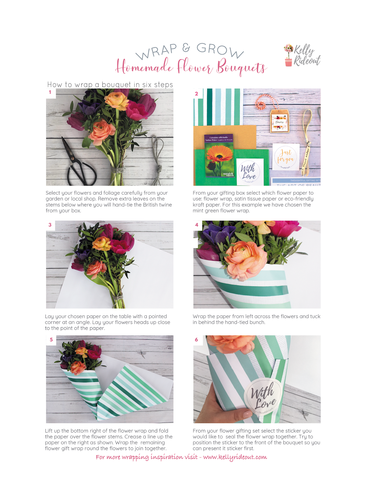 Diy How To Wrap A Flower Bouquet In Six Steps Inspired Living Now