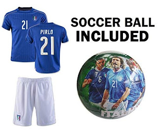 bbf9b879667 The best Italy Jersey Youth Pirlo #21 Kids Soccer Jersey + Shorts + ITALIA  Football Size 5 Ball BEST GIFT Calcio Boys (YL 10-13 years, Jersey+Ball)  2019