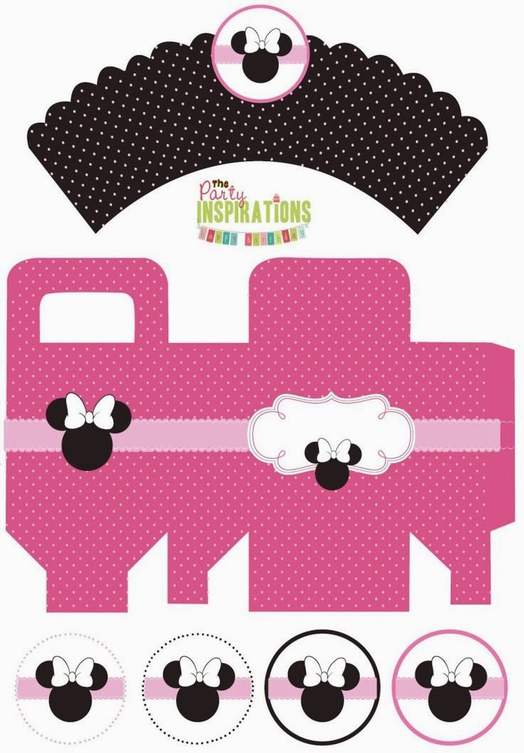 Free Printable Minnie Box and Cupcake Wrappers and Toppers.