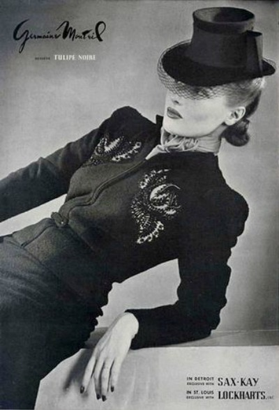 Woman with hat reclining in Germaine Monteil 1930's Fashion Ad