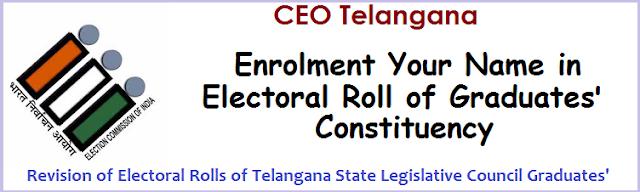 Mahabubngar-Ranga Reddy-Hyderabad and Warangal-Khammam-Nalgonda Graduates, Enrolment/Inclusion of Name of Names in Graduates' Constituency, TS Legislative Council Roll, Download Form 18 Application.