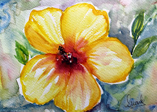 yellow hibiscus flower watercolor painting lonely painting botanical art