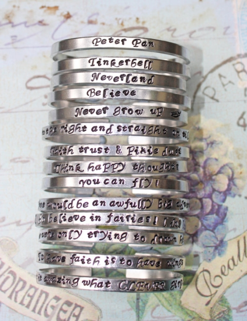 Peter Pan Inspired - Choice of Aluminium or Sterling Silver Stamped Skinny 4mm Cuff Bracelets inspired jewelry quote inspirational bracelet