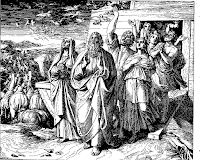 Noah, his family and the animals descend from the ship under the command of God. Genesis 8: 15-19.