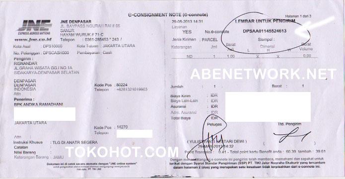 nomor bukti resi pengiriman JNE dan Pos: via JNE kirim