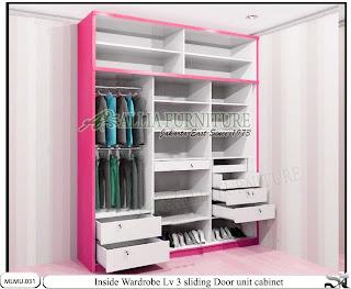 Dalam lemari sliding minimalis unit cabinet Lv