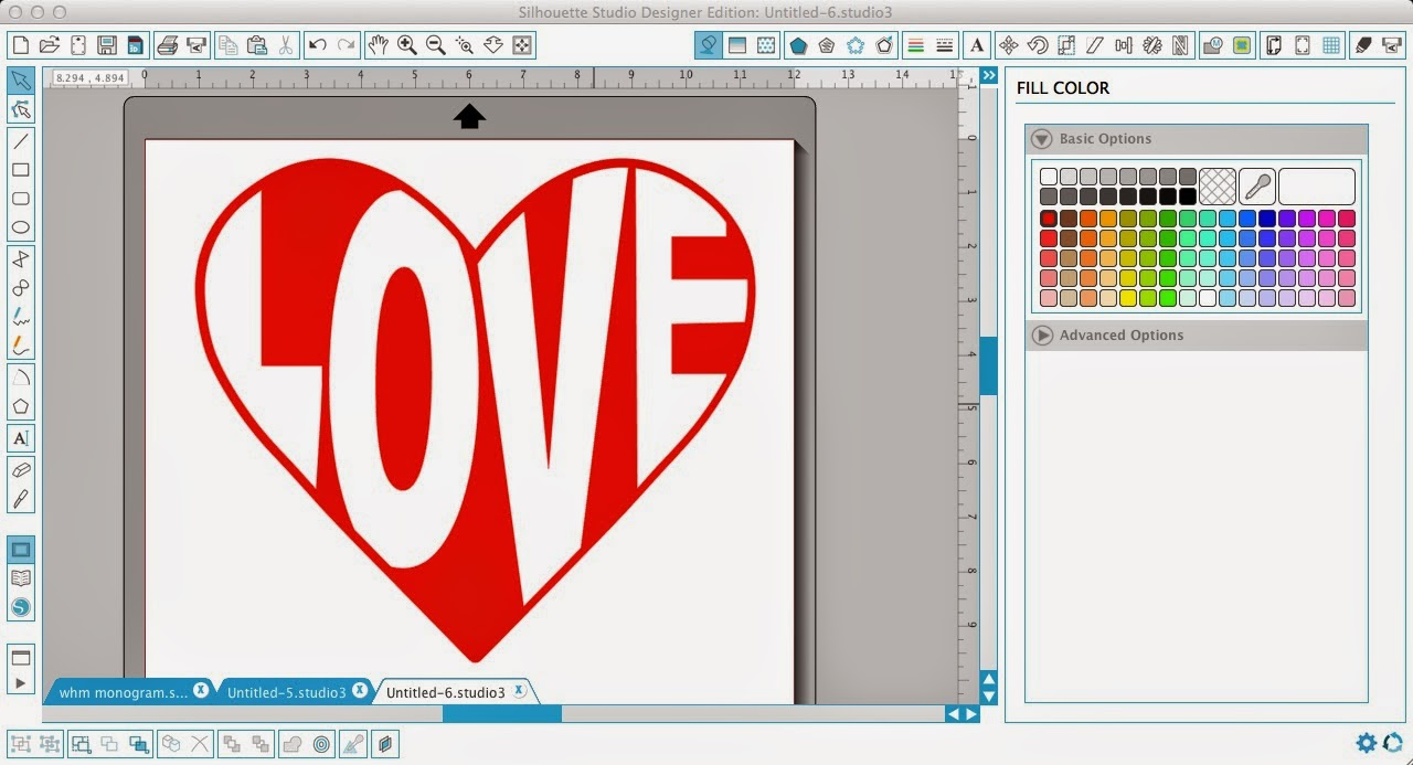 Silhouette Studio, word art, heart, love, fill color