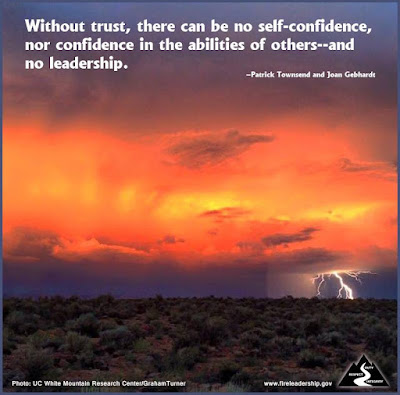 Without trust, there can be no self-confidence, nor confidence in the abilities of others--and no leadership. – Patrick Townsend and Joan Gebhardt (Lightning with sunset in the desert)