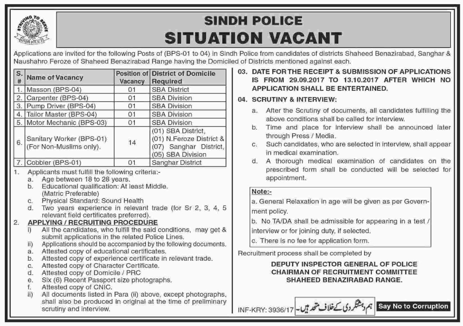 technical jobs in sindh police 2017